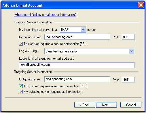 Windows Live Mail Setup